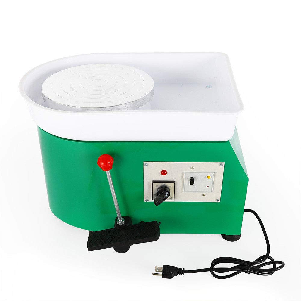 25CM 350W Pottery Wheel Machine Pottery Forming Machine DIY Clay Tool with Tray for Ceramic Work Ceramics Clay - Green