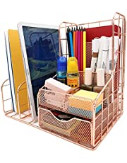 $35 » Rose Gold Mesh Desk Organizer and Accessories, Office Supplies Accessories Essentials with Drawers, Used for Storage of Home, School, Cosmetics,Home Decoration Boxes