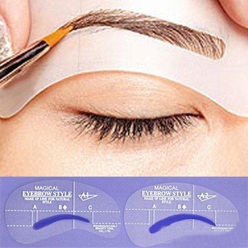 Terrece DIY Beauty Eyebrow Stencils Reusable Makeup Template Stencil Kit Shaper