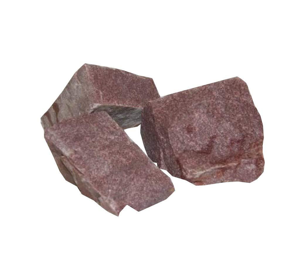 European Natural Stone Saunasteine Roter Quarz 20 kg - finnische Saunasteine - Saunagranit - Roter Quarzit - Grö ß e 2: 10-15 cm