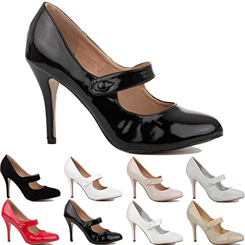 NEW WOMENS LADIES MID PARTY PROM HIGH HEELS STILETTO COURT SHOES PUMPS SIZE 3-8 black patent nDezSR