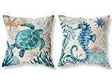 (US) FKCDEO Throw Pillow Covers 18x18 Inch Set of 2 - Cotton Linen Blue Theme Ocean Sea Turtle Seahorse Beach Game Pillow Covers, Decorative Pillowcase for Home Sofa Bedding Couch Outdoor Cushion Covers.