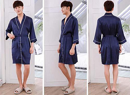 Leggero Pajama Da Camicia Accappatoio Blu Uomo Vestaglia Notte Moda Accogliente ta8AxPE