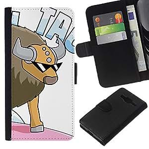 LECELL--Cuero de la tarjeta la carpeta del tirón Smartphone Slots Protección Holder For Samsung Galaxy Core Prime -- Gangster Bull --
