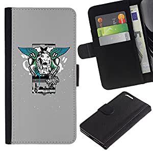 Planetar® Colorful Pattern Flip Wallet Leather Holster Protective Skin Case Cover For Apple (5.5 inches!!!) iPhone 6+ Plus ( Lion Wings Street Style )