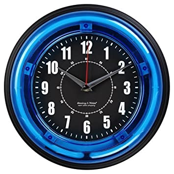 Amazoncom Sterling and Noble 11 Neon Wall Clock Neon Blue by