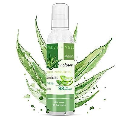 Aloe Vera Gel, Lofoson Organic Aloe Vera Soothing Gel, 100% Natural for Face, Body, and Hair, Facial Moisturizer, After Sun Moisturizer - Care for Sunburn