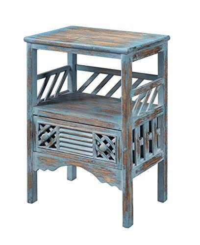Treasure Trove Accents Drawer Accent Table, Bali Blue Rub Through ()