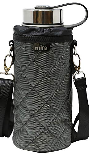 MIRA Water Bottle Carrier for 32 oz Wide Mouth Vacuum Insulated Stainless Steel Bottles | Fits, Hydro Flask, Camelbak, Takeya and Other Wide Mouth Bottles | Gray Ballistic Nylon