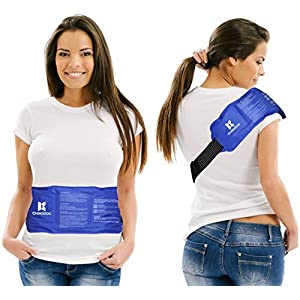 "ChiroDoc Pain Relief Ice Pack with Strap for Hot & Cold Therapy - Reusable Gel Pack for Injuries | Best as Heat Wrap or Cold Pack for Back, Waist, Shoulder, Neck, Ankle, Calves & Hip (Large: 14"" X 6"")"