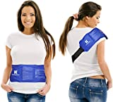 ChiroDoc Pain Relief Ice Pack with Strap for Hot & Cold Therapy - Reusable Gel Pack for Injuries | Best as Heat Wrap or Cold Pack for Back, Waist, Shoulder, Neck, Ankle, Calves & Hip (Large: 14
