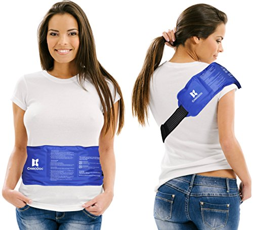 Shoulder Heat Pack (ChiroDoc Pain Relief Ice Pack with Strap for Hot & Cold Therapy - Reusable Gel Pack for Injuries | Best as Heat Wrap or Cold Pack for Back, Waist, Shoulder, Neck, Ankle, Calves & Hip (Large: 14