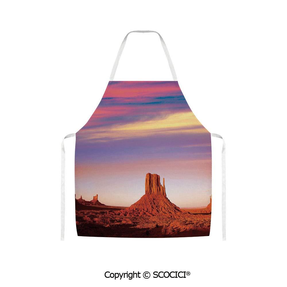 SCOCICI Unisex Kitchen Bib Apron Monument Valley West Mitten and Merrick Butte Sunset Utah Desert Women Men Chef Cooking Baking Gardening(W27.6 x H 31.5 inch/70 x 80 cm)