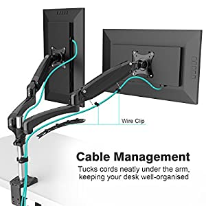 SLYPNOS Full Motion Dual Monitor Arm Desk Mount, Gas Spring Height Adjustment Computer Monitor with C Clamp, Cable Management for Two 15 to 27 Inch LCD Screens