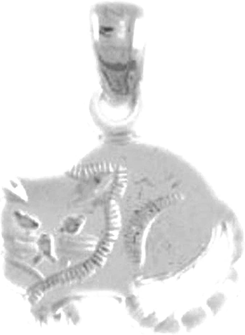 15 mm Sterling Silver 925 Cat Pendant Jewels Obsession Cat Pendant