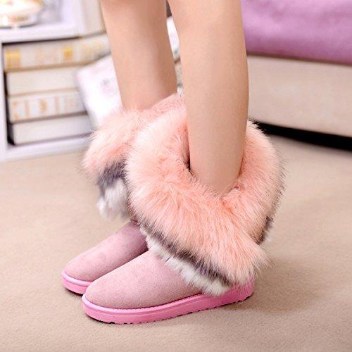 Favoridol Fashion Women Warm Winter Faux Fox Fur Ankle Snow Boots Shoes Pink 2uFwdFzGn