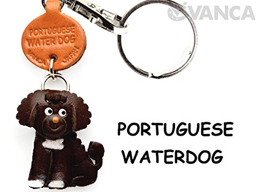 Portuguese Water Dog Leather Dog Small Keychain VANCA CRAFT-Collectible Keyring Charm Pendant Made in - New Water Portuguese