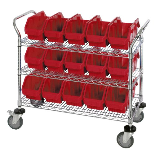 Mobile Dispensing Unit (Quantum Storage Systems WRC3-1836-1867RD 3-Tier Complete Wire Mobile Cart System with 15 QP1867 Red QuickPick Bins, Chrome Finish, 37-1/2