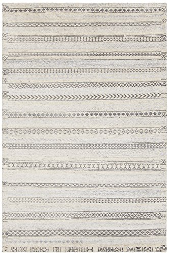 Chandra Rugs ISL44201-79106 Hand Knotted Wool Rectangle Area Rug, White/Grey, 7'9