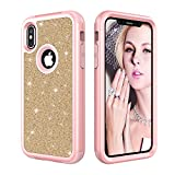 Stysen Case for iPhone X,Tri-Layer Hybrid Back Cover for iPhone X,3 in 1 Shockproof Full Body Creative Bling Shiny Sparkle Glitter Design Rose Gold + Gold Heavy Duty Armor Defender Protective Dual Layer Hard PC Back Shell Case Cover for iPhone X-Rose Gold + Gold
