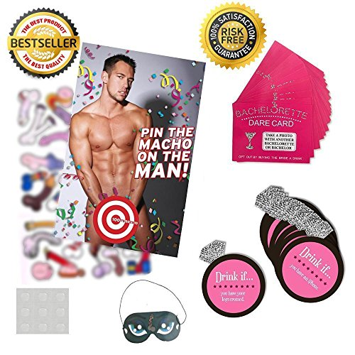Bachelorette Party Games & Bridal Shower Supplies - 20 Dare Card Game, 30 Drink If Cards, Pin the Macho on the Man w/ 24 Machos, Bride Set Gifts, Naughty Lesbian Hen Party Decor Favors ~ By PRIMEasy by PRIMEasy (Image #1)