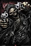 Spiral Assassin Grim Reaper With Guns Revolvers Skeleton Death Fantasy Horror Biker Poster 12x18