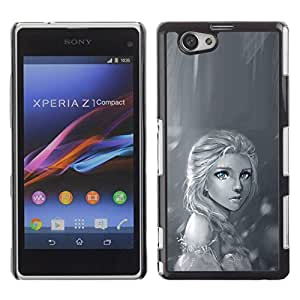 PC/Aluminum Funda Carcasa protectora para Sony Xperia Z1 Compact D5503 Rain Lonely Sad Black White Drawing / JUSTGO PHONE PROTECTOR