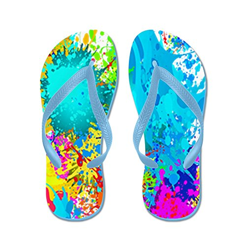 Cafepress Splat Vertikal - Flip Flops, Roliga Rem Sandaler, Strand Sandaler Caribbean Blue