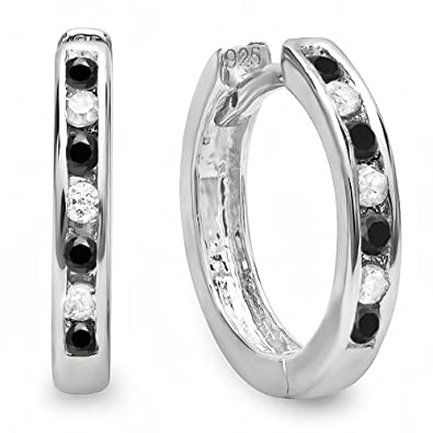 b8ee379f994b2 Dazzlingrock Collection Small 11mm Round Huggie Hoop Earring, Sterling  Silver