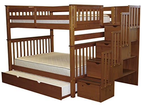 - Bedz King Stairway Bunk Beds Full Over Full with 4 Drawers in The Steps and a Full Trundle, Espresso