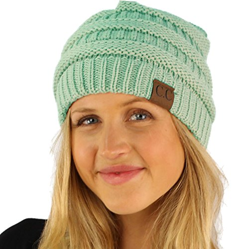 - Fleeced Fuzzy Lined Unisex Chunky Thick Warm Stretchy Beanie Hat Cap Solid Mint