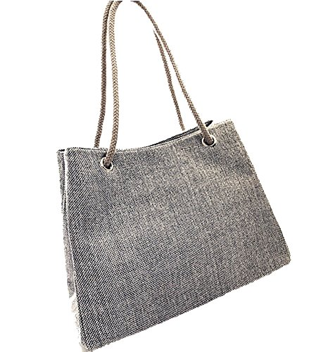 straw capacity shoulder breathable beach Blue canvas bag super 2018 Summer linen bag cotton large 6xIwpIAqv