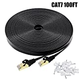 Cat7 Ethernet Cable 100 FT Black, Intelart Cat-7 Long Flat RJ45 Computer Internet Lan Network Ethernet Patch Cable Cord - 100 Feet