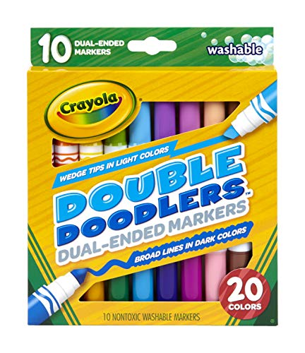 Crayola Dual-Tip Washable Markers, Broad Line & Chisel Tip, 10 Count (Washable Tip Marker Chisel)