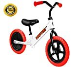 HAPTOO Balance Bike, Kid Glide Bike 12 inch [Ages 2 to 6 Years] No Pedal [Handlebars and Seat Adjustable] Lightweight Steel Tube Frame Walking Training Bicycle for Girls Boys Toddler (Red)