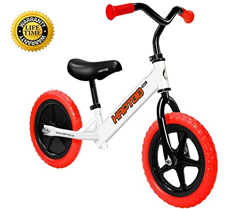 HAPTOO Balance Bike, Kid Glide Bike 12 inch [Ages 2 to 6 Years] No Pedal [Handlebars and Seat Adjustable] Lightweight Steel Tube Frame Walking Training Bicycle for Girls Boys Toddler (Red) by HAPTOO