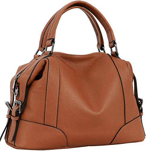 Iswee Leather Tote Handbag Shoulder Bags Top Handle Bag Crossbody Satchel for Women (Brown)