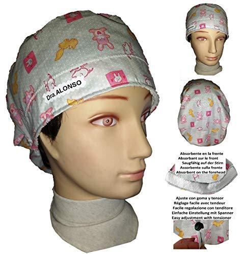Cappello medico per i capelli lunghi Coniglietti rosa Infermiera  Veterinaria Cirujana Dentista Cucina Assale anteriore regolabile ffded2e1948a