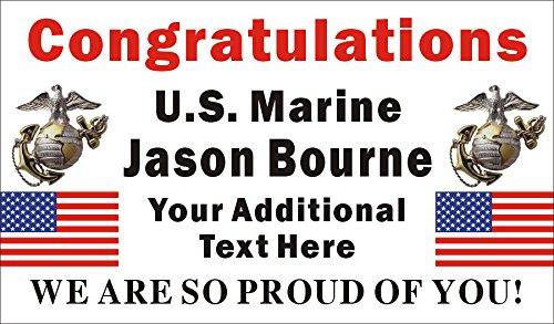 Alice Graphics 3ftX5ft Custom Personalized Congratulations U.S. (US) Marine Corps Basic Military Training Graduation Banner Sign ()