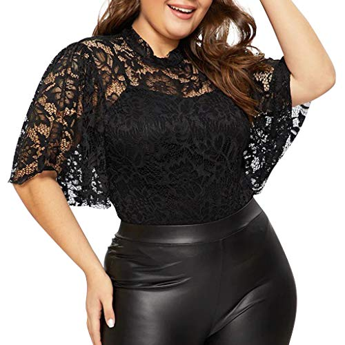 Short Flare Sleeve Floral Lace Tops,Women Plus Size Hollow Out Blouse Sexy Black O-Neck Beach Cocktail Party Blouse XL-4XL (Black, XX-Large) ()