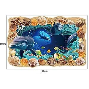 Rumas 3d mundo submarino extraíble de suelo/pared adhesivo Mural adhesivos vinilo salón Decor