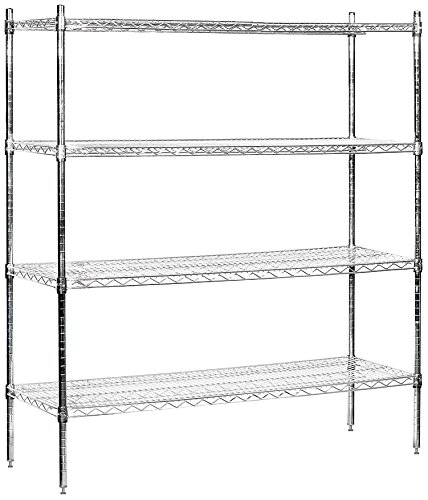 Salsbury Industries Stationary Wire Shelving Unit, 60-Inch W