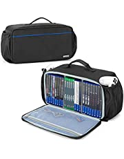 CURMIO Game Disc Storage Bag Holds Up to 24 Discs, Game Disk Travel Case Compatible with PS4 /PS4 Pro /PS3 /PS5 /Xbox One /Xbox Series X/S / Xbox 360, Blue Stripe (Bag Only)