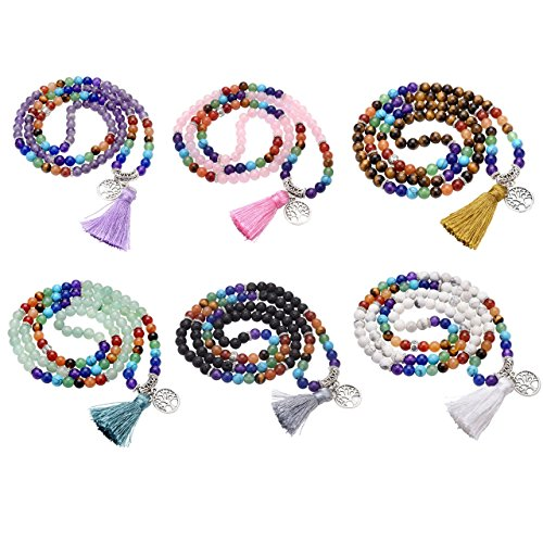 Jovivi Natural Amethyst Crystal Quartz Gemstones 7 Chakra Healing Crystals 108 Prayer Beads Mala Wrap Bracelet Necklace w/Tree of Life Tassel (Stones That Help With Anxiety And Depression)