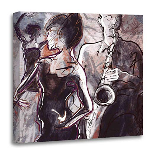 Altuny Canvas Print Wall Art Painting Pictures Jazz Band Music Art Dance Musician Soul Man Woman 16x16 Inch Artwork Modern Decor for Living Room Bedroom Bathroom Great Gift