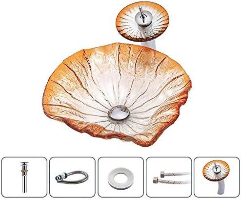 洗面ボウル 洗面化粧台のシンクの葉の形の強化ガラス容器シンククローム蛇口コンボ、ポップアップシンクドレイン 浴室の台所の流し (Color : Orange, Size : 44x44x14.5cm)