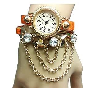 Newstylee Lady Women's Jewelry Diamond Bracelet Wrist Watch (Orange)