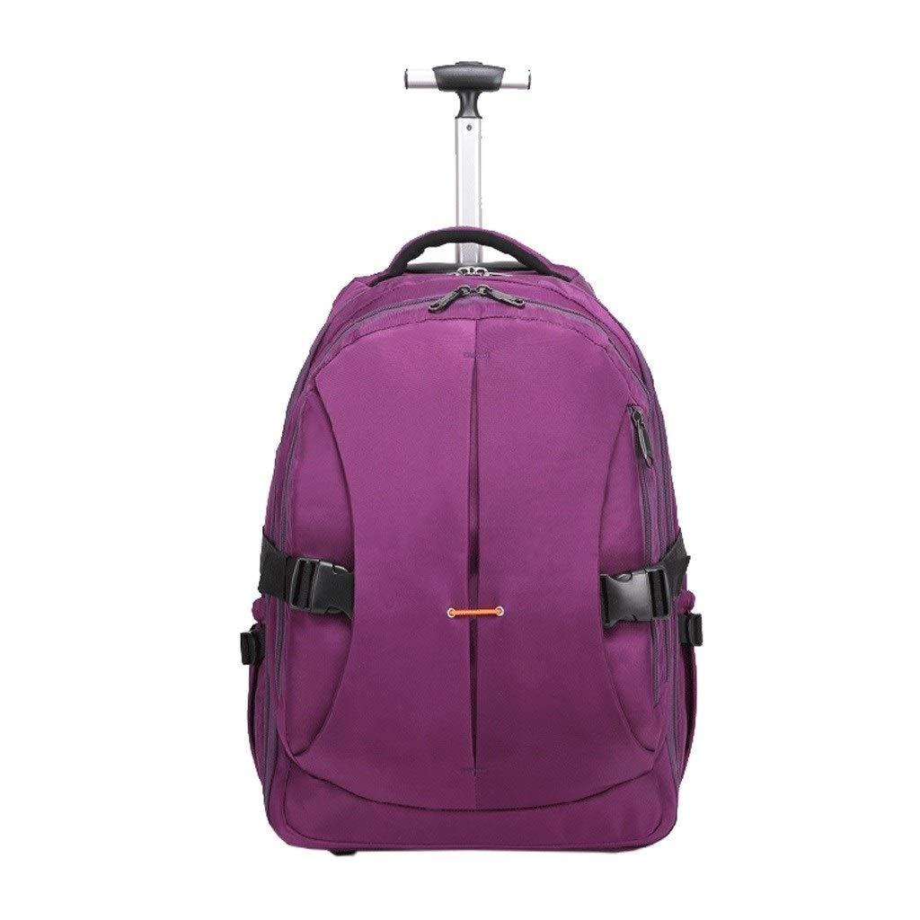 XMlgxzy ホイールラップトップバックパックローリングキャリーオントロリースクールバッグ旅行荷物 (Color : Purple) B07T53GD84 Purple