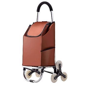 WangKuanHome Carro de la Compra Plegable, Carro de Escalada de Seis Ruedas para Subir escaleras, asa de Aluminio de aviación (Color : Brown): Amazon.es: ...
