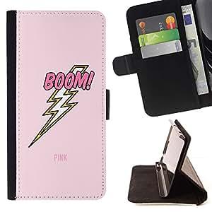 Momo Phone Case / Flip Funda de Cuero Case Cover - Jolt eléctrico Rayo Rosa del texto - HTC One M9